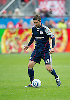22 October 2011: New England Revolution defender/midfielder Chris Tierney #8 in action during a game between the New England Revolution and Toronto FC at BMO Field in Toronto..The game ended in a 2-2 draw.