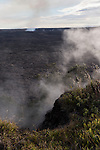 Hawai'i Volcanoes National Park, Big Island of Hawaii, Hawaii; Kīlauea volcano, Halemaʻumaʻu crater, steam vents around the rim of the crater
