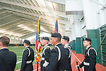 Ohio University Army ROTC presents the colors at the dedication of the Walter Fieldhouse. The Army ROTC will train in the new facility at least three times per week. Photo by Ben Siegel/ Ohio University
