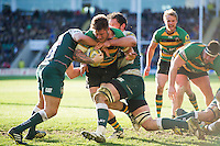 Teimana Harrison of Northampton Saints takes on the Leicester Tigers defence. Aviva Premiership match, between Northampton Saints and Leicester Tigers on April 16, 2016 at Franklin's Gardens in Northampton, England. Photo by: Patrick Khachfe / JMP