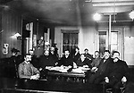 The Waterbury Board of Public Works met in City Hall, which was at that time on West Main Street, where the Steel Building stood later. The meeting date was Tuesday, November 12, 1901. Identified in the group are, left to right, Frederick W. Chesson, Martin Scully (became mayor 1914-1917), Ralph N. Blakeslee, Supt. of Streets Edward Riley, Mayor Edward G. Kilduff, Clerk Michael J. Ryan, City Engineer Robert A. Cairns, Daniel J. Mahaney, and James V. Whiting. The two men in back have not been identified.