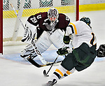 9 October 2009: Union Dutchwomen goaltender Alana Marcinko, a Freshman from Altoona, PA, in action against the University of Vermont Catamounts at Gutterson Fieldhouse in Burlington, Vermont. The Catamounts shut out the visiting Dutchwomen 2-0 to start off the Cats' 2009 season. Mandatory Credit: Ed Wolfstein Photo