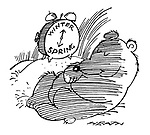 (A hibernating bear has his alarm clock set to 'Spring')