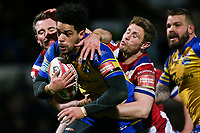 Picture by Alex Whitehead/SWpix.com - 17/03/2017 - Rugby League - Betfred Super League - Leeds Rhinos v Wakefield Trinity - Headingley Carnegie Stadium, Leeds, England - Leeds' Josh Walters is tackled by Wakefield's Matty Ashurst and Kyle Wood.