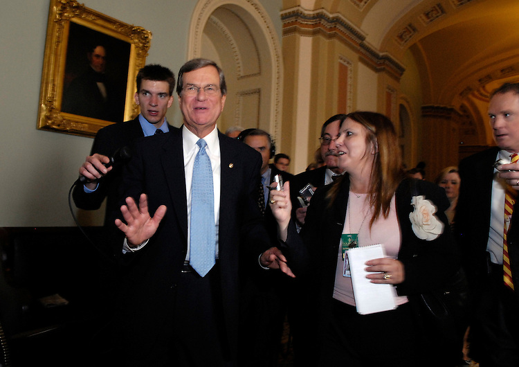 Newly elected Senate Minority Whip Trent Lott, R-Miss., is questioned by reporters after a news conference discussing the Senate republican leadership elections.