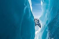 Blue ice of crevasse on Franz Josef Glacier, Westland National Park, West Coast, World Heritage, South Island, New Zealand