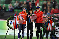 SPEED SKATING: HAMAR: Vikingskipet, 04-03-2017, ISU World Championship Allround, Podium 500m Ladies, Ireen Wüst (NED), Miho Takai (JPN), Ida Njåtun (NOR), ©photo Martin de Jong