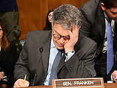 United States Senator Al Franken (Democrat of Minnesota) looks over his notes prior to the US Senate Committee on Health, Education, Labor and Pensions hearing  considering the confirmation of Betsy DeVos of Grand Rapids, Michigan to be US Secretary of Education on Capitol Hill in Washington, DC on Tuesday, January 17, 2017.<br /> Credit: Ron Sachs / CNP