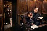 Camino, Italy, 09/2004, ITALY-10029. Men read the Bible.<br /> <br /> Retouched_Ekaterina Savtsova 02/17/14