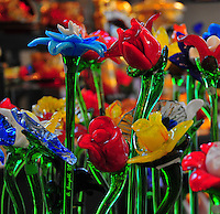 Glass Flowers, Prague, Czech Republic, Blown Glass Art<br />