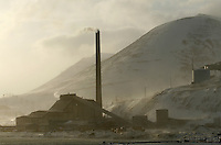 Powerplant using coal in the town of Longyearbyen. The Arctic island of Spitsbergen is the largest of islands in the group that makes up Svalbard. The islands are close to the North Pole and about 60% of the land mass is covered by glaciers. The main activities are mining, tourism and Arctic research. &copy; Fredrik Naumann