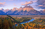 Morning light on the Grand Tetons from the Snake River overlook, Grand Teton National Park, Wyoming USA
