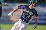 29 June 2014:  Vermont Lake Monsters outfielder Brett Vertigan in action against the Lowell Spinners at Centennial Field in Burlington, Vermont. The Lake Monsters fell to the Spinners 7-5 in NY Penn League action. Mandatory Credit: Ed Wolfstein Photo *** RAW Image File Available ****