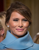 First Lady Melania Trump leaves the President's Room of the Senate on Capitol Hill in Washington, Friday, Jan. 20, 2017, after President Trump signed his first legislation. <br /> Credit: J. Scott Applewhite / Pool via CNP