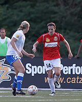 Western New York defender Katherine Reynolds (14) brings the ball forward. In a Women's Premier Soccer League Elite (WPSL) match, the Boston Breakers defeated Western New York Flash, 3-2, at Dilboy Stadium on May 26, 2012.