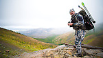 bowhunter hunting elk deer mountains of montana burn area, fall hunting, bow hunting