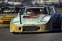 Rolf Stommelen drives a Porsche 935 during the 1981 12 Hours of Sebring auto race near Sebring, Florida.
