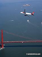 aerial photograph Virgin America Airbus a320 over Golden Gate bridge, San Francisco, California