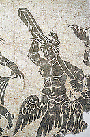 Black and white floor mosaic showing the marine or sea thiasos depicting Poseidon and his retinue.. From the area between the Milvian Bridge and  l'Acqua Acetosa in the locality Tor di Quinto. End of 2nd century AD. National Roman Museum, Rome, Italy