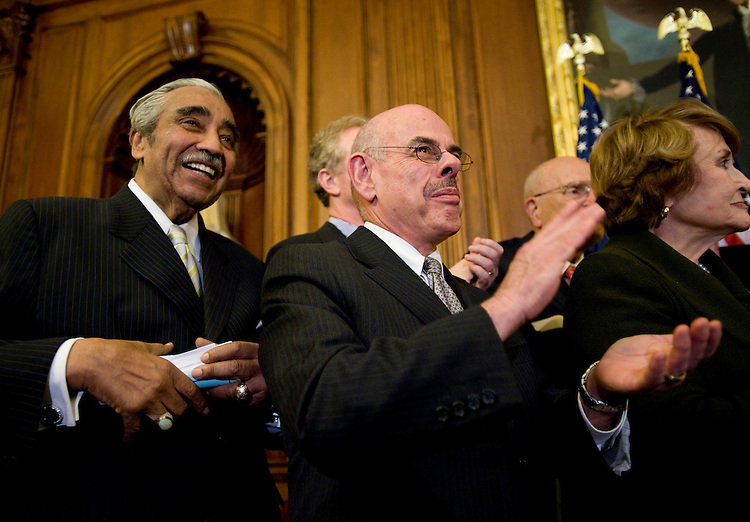 WASHINGTON, DC - Nov. 07: House Ways and Means Chairman Charles B. Rangel, D-N.Y., House Energy Chairman Henry A. Waxman, D-Calif., and House Rules Chairwoman Louise M. Slaughter, D-N.Y., during a news conference after the House passed most ambitious overhaul of the U.S. health care system in 40 years, allowing President Obama to win a preliminary round in what could still be a long battle for his top domestic priority. The 220-215 vote for the trillion-dollar effort to extend health coverage to millions of Americans who currently lack it capped a long debate during which a soporific tone belied the tension within the majority Democratic caucus. (Photo by Scott J. Ferrell/Congressional Quarterly)