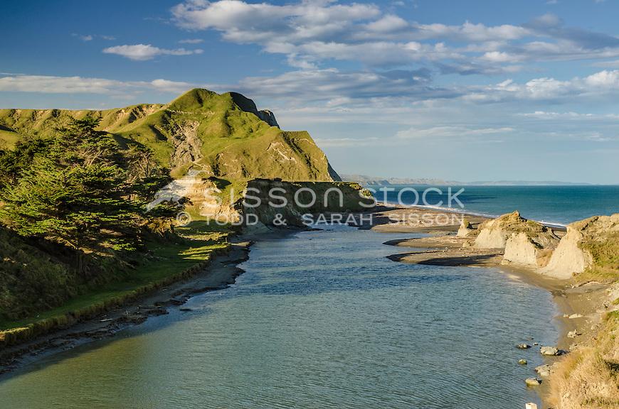 Estuarine stream Waihua beach. Napier - Gisborne Road (SH2) NZ.