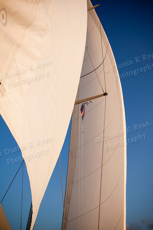 sails of a Beneteau 49 while sailing in Charleston South Carolina