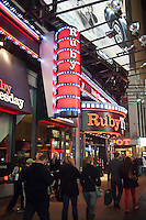 A branch of the Ruby Tuesday restaurant chain in Times Square is seen on the evening of Saturday, March 17, 2012. Sales in full service restaurants, as opposed to fast food restaurants, over 12 months ending January were up 8.7 percent compared to the previous 12 months. The numbers are considered an indicator of the economy based on the fact that people will cut back on eating out during hard times.   (© Richard B. Levine)