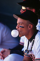 SAN FRANCISCO, CA - Royce Clayton of the San Francisco Giants blows a bubble in the dugout during game at Candlestick Park in San Francisco, California in 1992. Photo by Brad Mangin