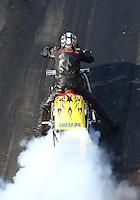 Jun 17, 2016; Bristol, TN, USA; NHRA top fuel Harley motorcycle rider Ron Gledhill during qualifying for the Thunder Valley Nationals at Bristol Dragway. Mandatory Credit: Mark J. Rebilas-USA TODAY Sports