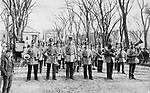 The American Band posed for this photograph on the north side of the green in Waterbury during the late 1800s. The bank later changed its name to the Fulton-American Band. Among those in the photo are Paul Rudolph, Paul Hinze, Charles Smith, Charles Layth, Rowland Jenner, Perry Brown, Edward Russell, Pete Aryotte, William Pheonix, John Parsons, John Swan and James Blake, director. Band members are posing in their new uniforms that cost $1,500.