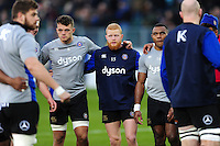 Tom Homer of Bath Rugby looks on in a pre-match huddle. Aviva Premiership match, between Bath Rugby and Exeter Chiefs on December 31, 2016 at the Recreation Ground in Bath, England. Photo by: Patrick Khachfe / Onside Images