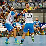 GER - Mannheim, Germany, September 23: During the DKB Handball Bundesliga match between Rhein-Neckar Loewen (yellow) and TVB 1898 Stuttgart (white) on September 23, 2015 at SAP Arena in Mannheim, Germany. Final score 31-20 (19-8) .  Dominik Weiss #6 of TVB 1898 Stuttgart, Patrick Groetzki #24 of Rhein-Neckar Loewen, Simon Baumgarten #14 of TVB 1898 Stuttgart<br /> <br /> Foto &copy; PIX-Sportfotos *** Foto ist honorarpflichtig! *** Auf Anfrage in hoeherer Qualitaet/Aufloesung. Belegexemplar erbeten. Veroeffentlichung ausschliesslich fuer journalistisch-publizistische Zwecke. For editorial use only.
