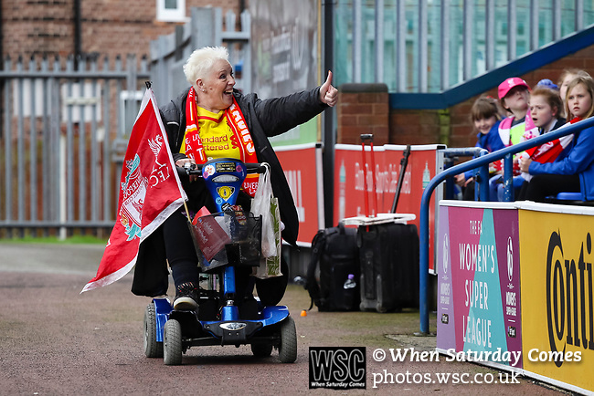 Liverpool Ladies 2 Everton Ladies 1, 19/03/2017. Select Security Stadium, SSE FA Cup Fifth Round. A Liverpool  fan in a mobility scooter arrives at the game between Liverpool Ladies v Everton Ladies at The Select Security Stadium, Widnes, in the Women's SSE FA Cup Fifth Round. Photo by Paul Thompson.