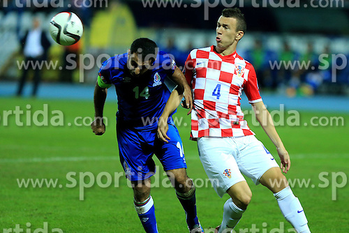 13.10.2014, Stadion Gradski vrt, Osijek, CRO, UEFA Euro Qualifikation, Kroatien vs Aserbaidschan, Gruppe H, im Bild Rashad Sadygov, Ivan Perisic // during the UEFA EURO 2016 Qualifier group H match between Croatia and Azerbaijan at the Stadion Gradski vrt in Osijek, Croatia on 2014/10/13. EXPA Pictures &copy; 2014, PhotoCredit: EXPA/ Pixsell/ Davor Javorovic<br /> <br /> *****ATTENTION - for AUT, SLO, SUI, SWE, ITA, FRA only*****