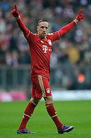 Fussball Bundesliga Saison 2011/2012 24. Spieltag FC Bayern Muenchen - FC Schalke 04 Franck RIBERY (FCB) jubelt nach seinem Tor zum 2:0.