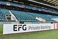 A general view of an EFG billboard alongside the pitch. The Clash, Aviva Premiership match, between Bath Rugby and Leicester Tigers on April 8, 2017 at Twickenham Stadium in London, England. Photo by: Patrick Khachfe / Onside Images
