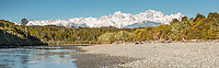 Aoraki, Mt. Cook and Mt. Tasman seen from Gillespies Lagoon, Westland Tai Poutini National Park, West Coast, UNESCO World Heritage Area, South Westland, New Zealand, NZ
