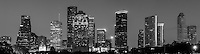 This is a black and white version of the Houston skyline.  Houston is the fourth largest city in the US and has a very impressive skyline of modern high rise skyscrapers. This is a panorama of the Houston skyline that we took from a city park near the bayou close to downtown. This Photo captures some of Houston architecture tallest skyscrapers like the Chase Tower, Heritage Plaza, the America bank, the Smith St. buildings, along with the Well Fargo and many other high rises icons of the city.