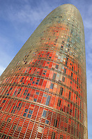 """Agbar Tower; Jean Nouvel (Fumel, Lot-et-Garonne, France 1945) and B720 architectural studio headed by Fermín Vázquez; June 1999 - Sept 2004; 142 meters height; 50,500 square meters built; 59,619 Glass Sheets; 4,349 Openings; 4500 Windows; 40 different colours; work included to the exhibition """"On-site, new architecture in Spain"""" at the Museum of Modern Art (New York, Feb - May 2006), Barcelona, Catalonia, Spain Picture by Manuel Cohen"""