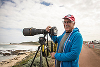 Margaret River, Western Australia (Wednesday, April 15, 2015) Photographer Peter Joli Wilson (AUS) shooting wiht the Nikkor  800mm. Photo by Mrs Joli. &ndash; The first day of the 2015 Drug Aware Margaret River Pro was called on today with surf in the solid 10'-12 plus surf at the main break at Margaret River and solid 6'-10' at the alternate spot of The Box. <br /> Round One heats 1 to 7 were held at The Box before the contest was put on hold for a short time and then shifted to the main Break.<br /> Photo: joliphotos.com