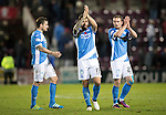 Hearts v St Johnstone&hellip;05.11.16  Tynecastle   SPFL<br />Paul Paton, Richie Foster and Chris Kane applaud the travelling fans at full time<br />Picture by Graeme Hart.<br />Copyright Perthshire Picture Agency<br />Tel: 01738 623350  Mobile: 07990 594431