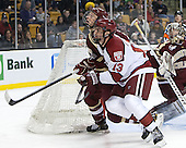 Patrick Brown (BC - 23), Tommy O'Regan (Harvard - 13) - The Boston College Eagles defeated the Harvard University Crimson 4-1 in the opening round of the 2013 Beanpot tournament on Monday, February 4, 2013, at TD Garden in Boston, Massachusetts.