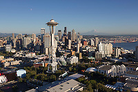 Space Needle skyline aerial, Seattle, WA
