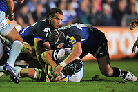 Carl Fearns looks to turn possession over. Aviva Premiership match, between Bath Rugby and Northampton Saints on September 14, 2012 at the Recreation Ground in Bath, England. Photo by: Patrick Khachfe / Onside Images