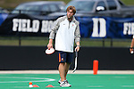 19 September 2014: Virginia assistant coach Maarten Slinger (NED). The Duke University Blue Devils hosted the University of Virginia Cavaliers at Jack Katz Stadium in Durham, North Carolina in a 2014 NCAA Division I Field Hockey match. Virginia won the game 2-1.