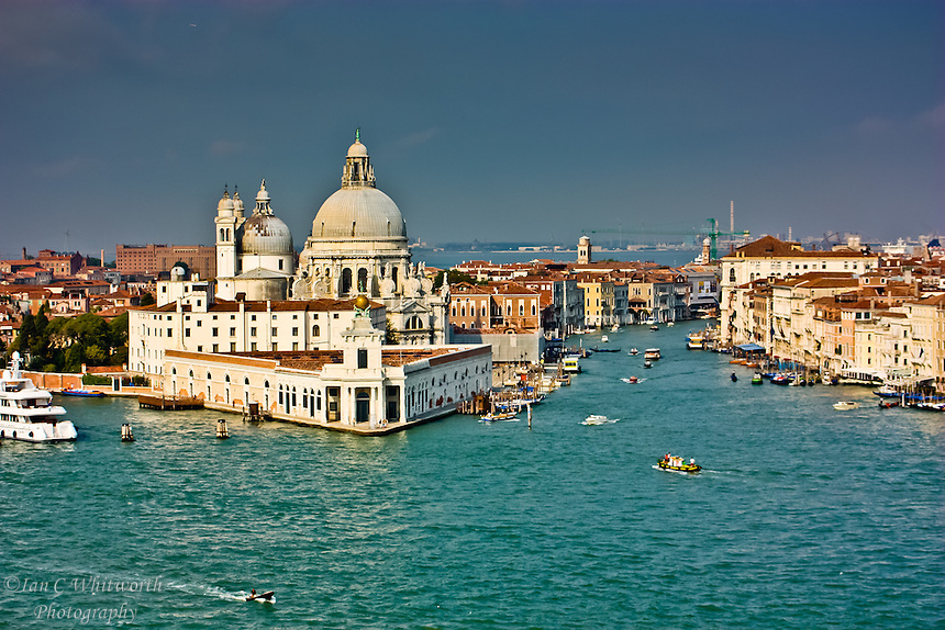 A view from a cruise ship of the entrance to the Grande Canal in Venice