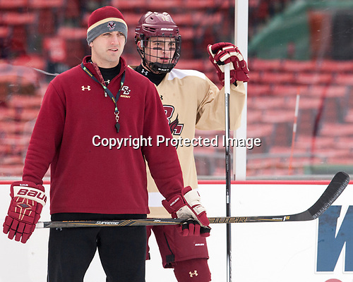 Mike Ayers (BC - Assistant Coach), Mike Booth (BC - 12) - The Boston College Eagles practiced at Fenway on Friday, January 6, 2017, in Boston, Massachusetts.