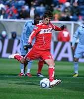 Chicago Fire forward Diego Chaves (99) scores Chicago's first goal on a penalty kick.  The Chicago Fire defeated Sporting KC 3-2 at Toyota Park in Bridgeview, IL on March 27, 2011.