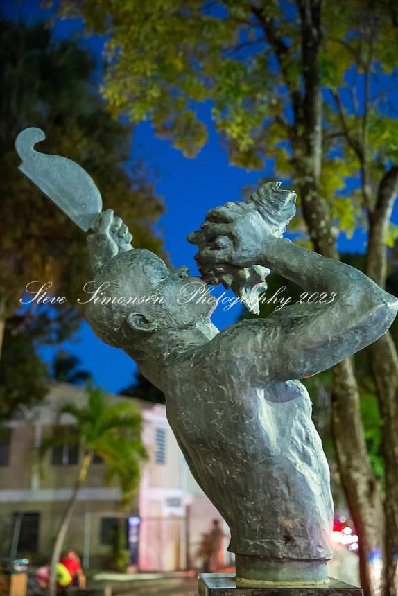 Freedom statue in Cruz Bay park<br /> St. John<br /> US Virgin Islnads