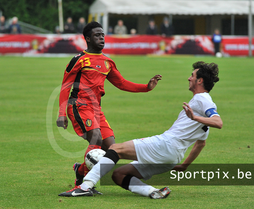 Georgia U19 - Belgium U19 : Jordan Kevin Atheba (13) and Nika Sandokhadze (4)<br /> foto DAVID CATRY / Nikonpro.be